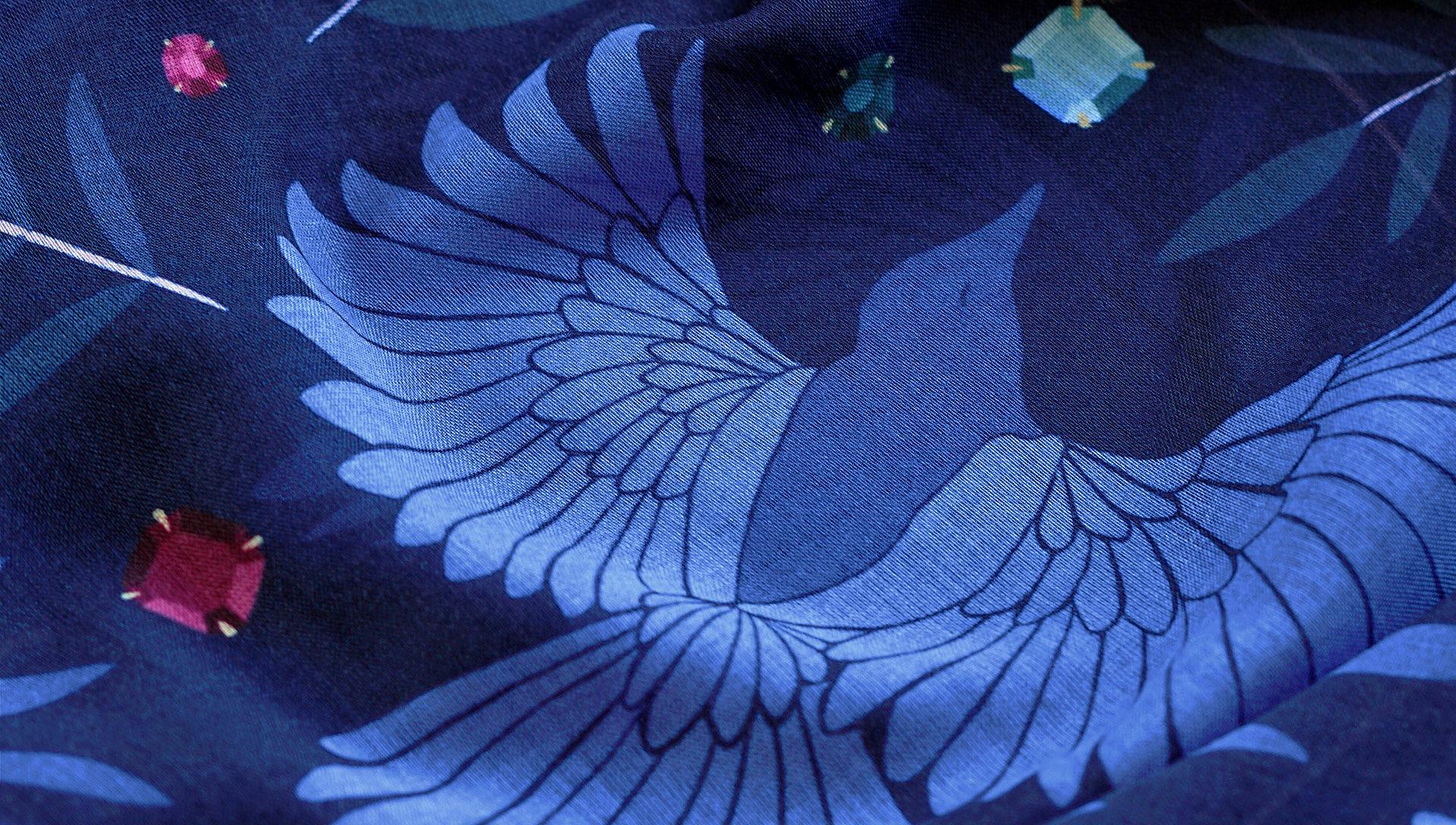 LeChaleBleu-cashmere-shawls-indigo-magpies-zoom-home