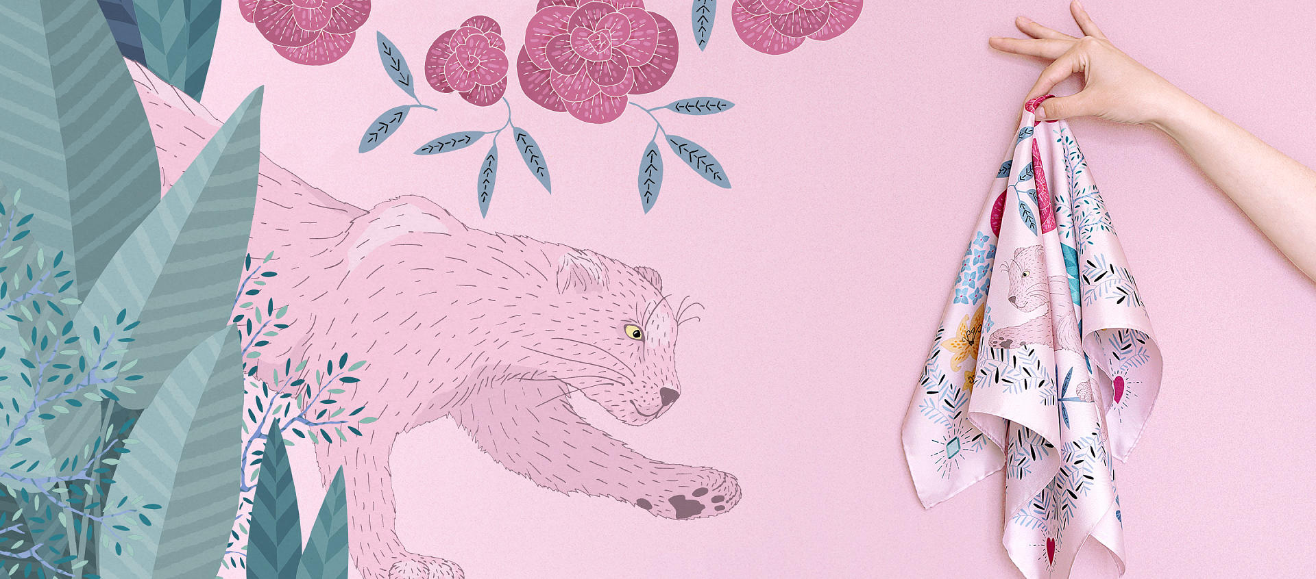 le-chale-bleu-HOMEPAGE-pink-panther-silk-bandana-drawing-v2