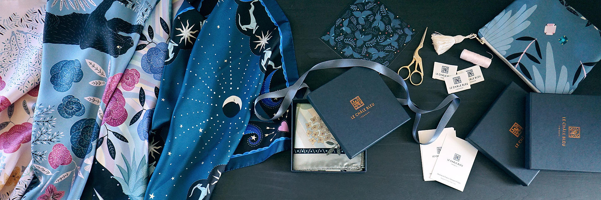 Le Châle Bleu Silk twill scarves gift packaging
