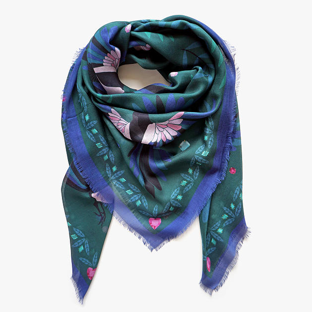 lechalebleu-modal-and-silk-scarf-treasure-hunters-green-folded