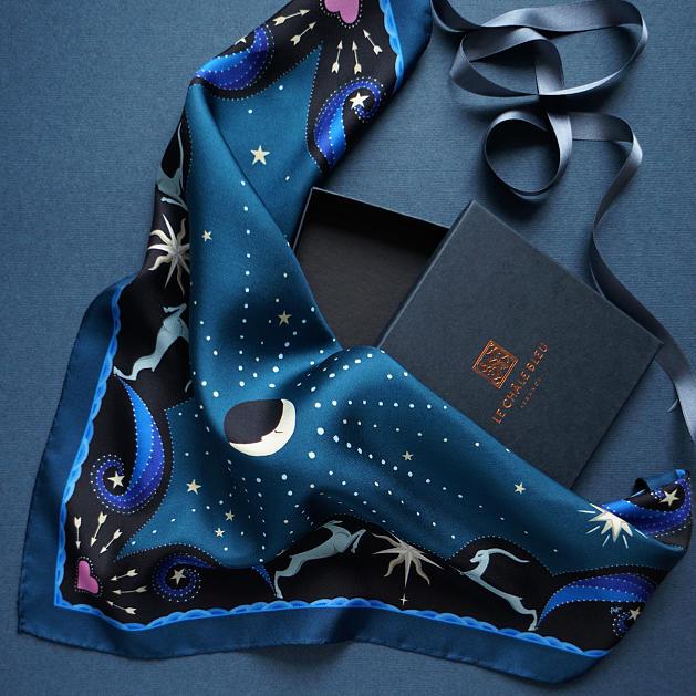 lechalebleu-silk-twill-bandana-beautiful-as-the-moon-blue-packaging