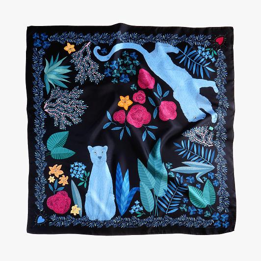 lechalebleu-silk-twill-scarf-panthere-black