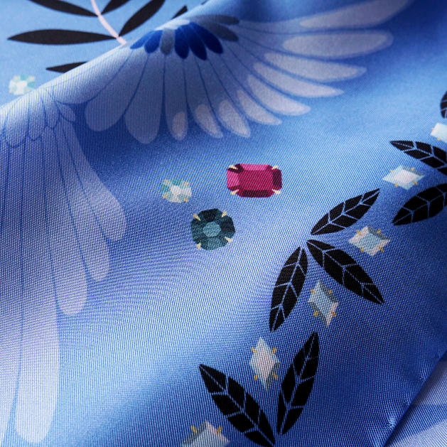lechalebleu-silk-twill-scarf-treasure-hunters-blue-closeup