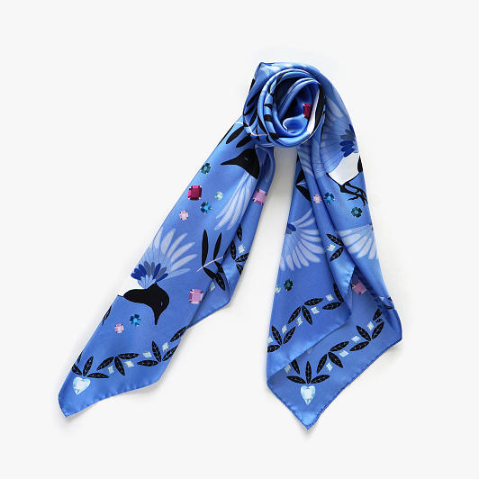 lechalebleu-silk-twill-scarf-treasure-hunters-blue-folded