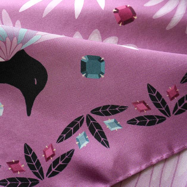 lechalebleu-silk-twill-scarf-treasure-hunters-pink-closeup