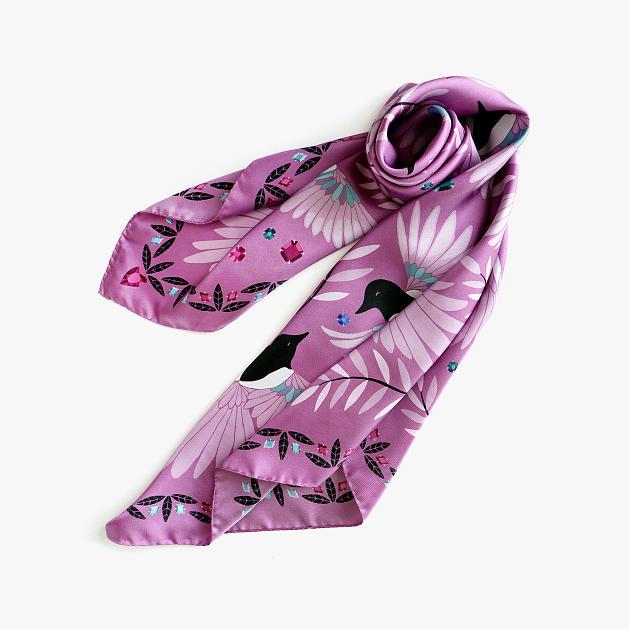 lechalebleu-silk-twill-scarf-treasure-hunters-pink-folded