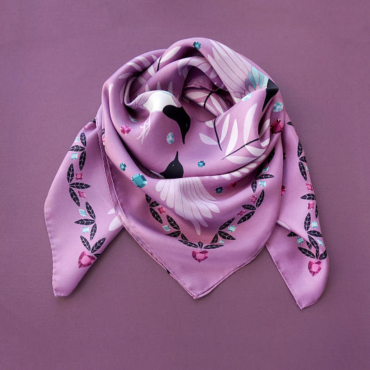 lechalebleu-silk-twill-scarf-treasure-hunters-pink-folded2