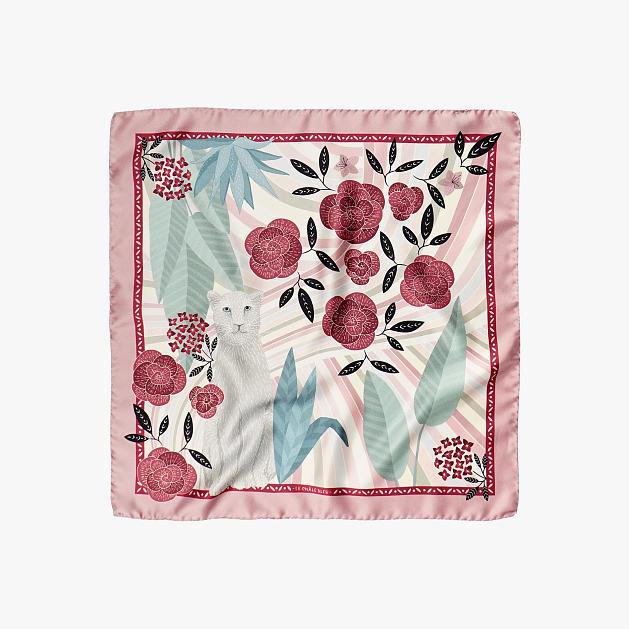 LE-CHALE-BLEU-silk-twill-bandana-panther-wavy-pink-1