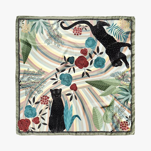 le-chale-bleu-silk-twill-scarf-panther-green-1