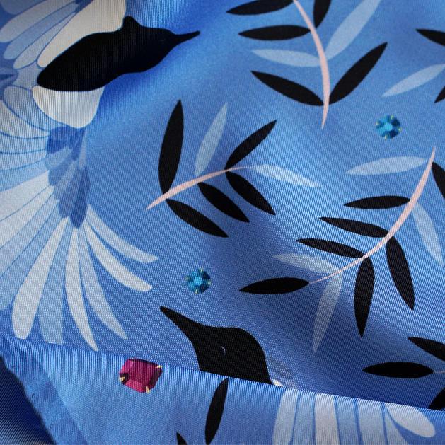 LE-CHALE-BLEU-silk-twill-bandana-magpies-dance-sapphire-5