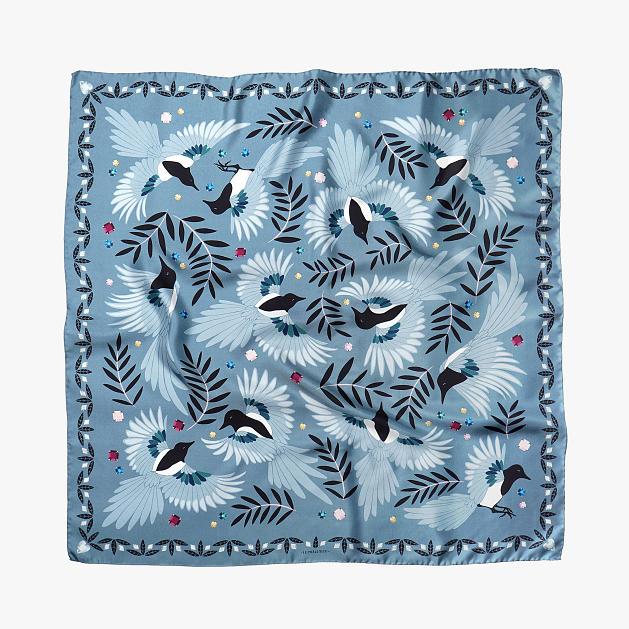 le-chale-bleu-silk-twill-scarf-magpies-paris-gray-1