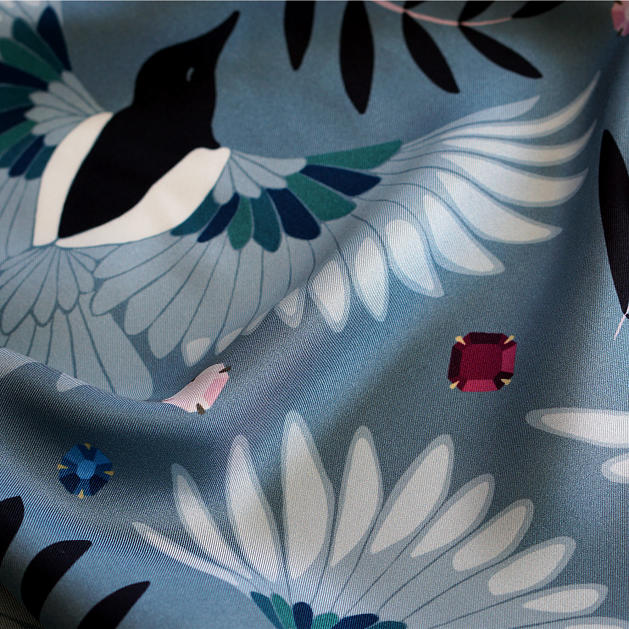 le-chale-bleu-silk-twill-scarf-magpies-paris-gray-5